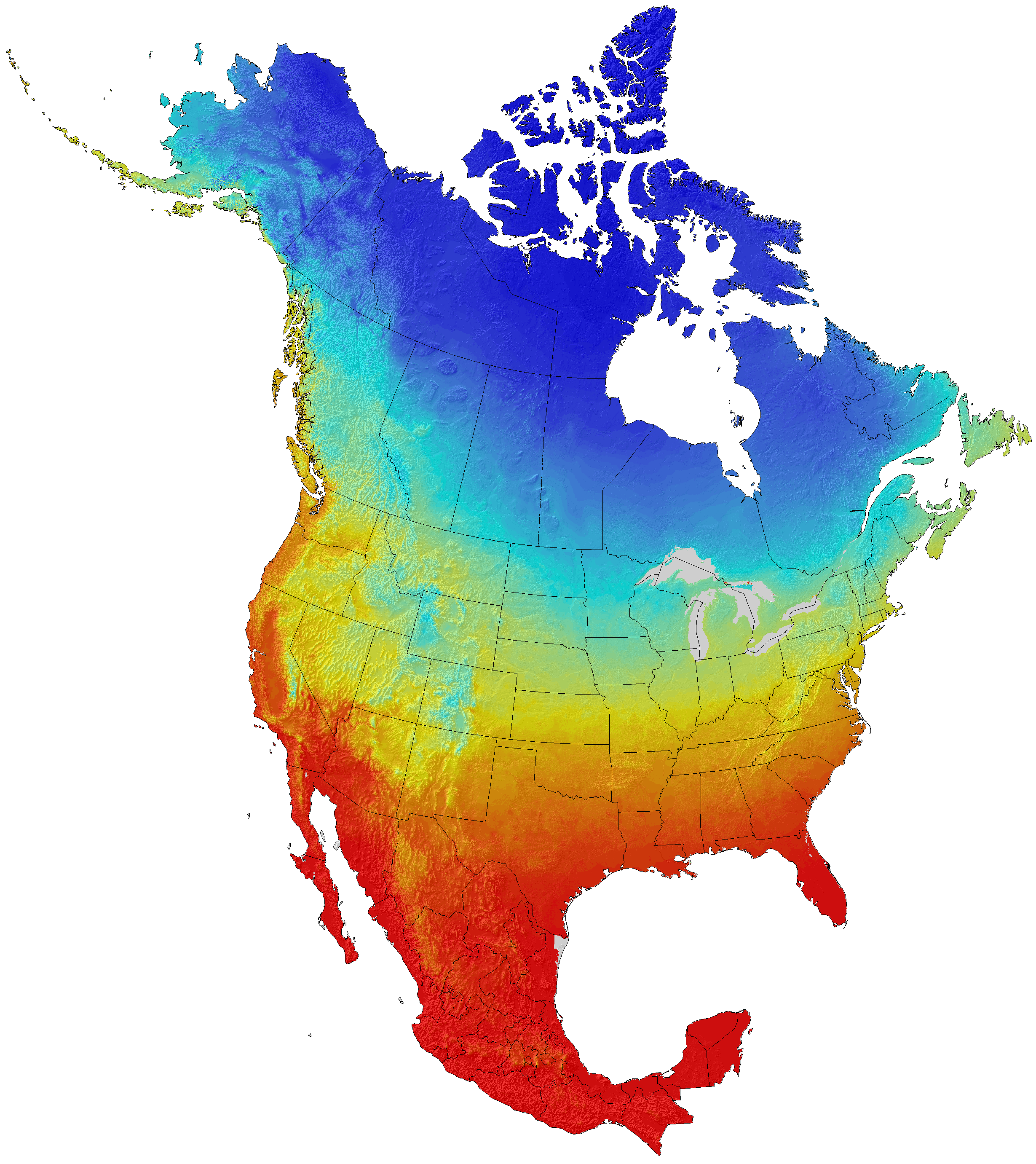 Current And Projected Climate Data For North America CMIP - Current temperature map in us