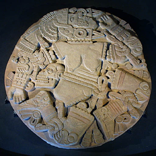 Coyolxauhqui depicted dismembered, found at bottom of steps to the Templo Mayor