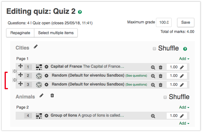 """Select """"See questions"""" to view a list of the questions that could be presented to students"""