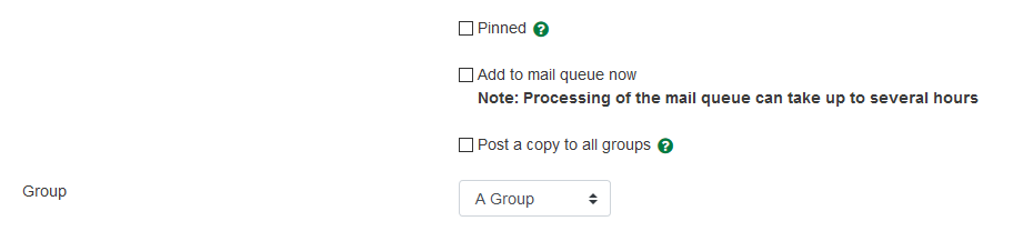 The Group forum posting options for instructors.