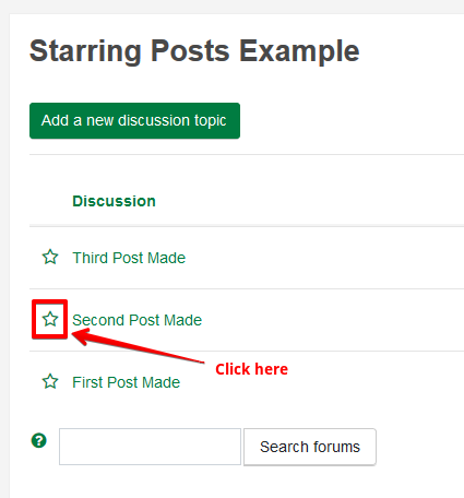Three posts in a forum, with an arrow pointing to the star icon next to the second post.