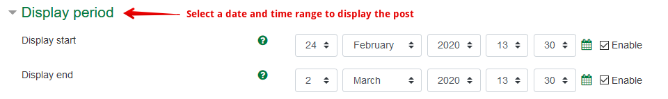 The display period options for instructors, with Display start and Display end options