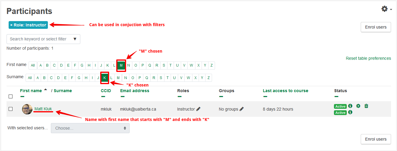 The first name and surname search options used to find instructors whose name begins with the letter M and ends with the letter K.