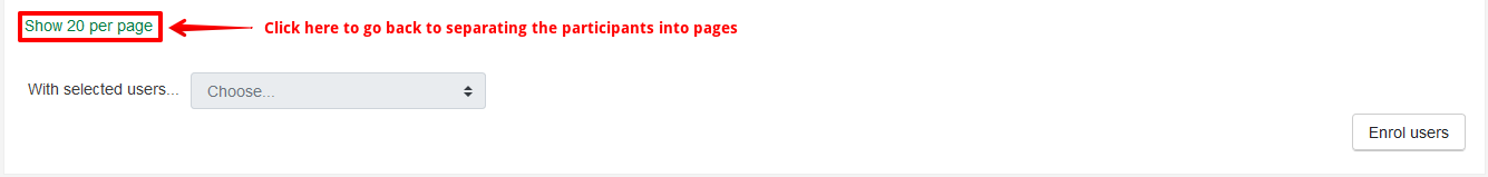 Showing where to click Show 20 per page at the bottom of the participants list if you are viewing all participants.