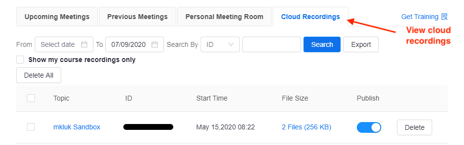 A list of cloud recordings in a Zoom activity within an eClass course.