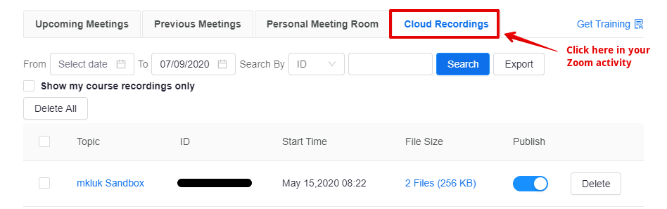 The list of Cloud recordings in a course