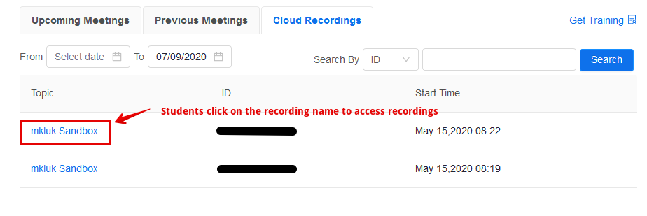 Showing where students can click on a Zoom cloud recording
