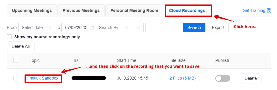 Find the cloud recording that you want to save offline.