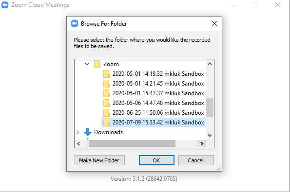 Choosing where to save the recording on your computer.