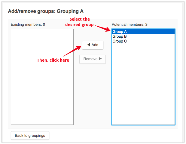 Click On A Groups Name In The Potential Members Column To Select It Then Add Button Between Two Columns Move Them Your Grouping