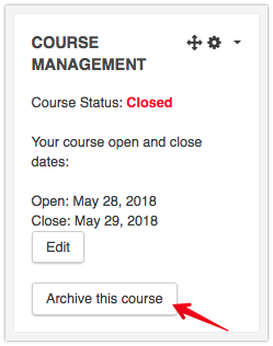 Click Archive this course