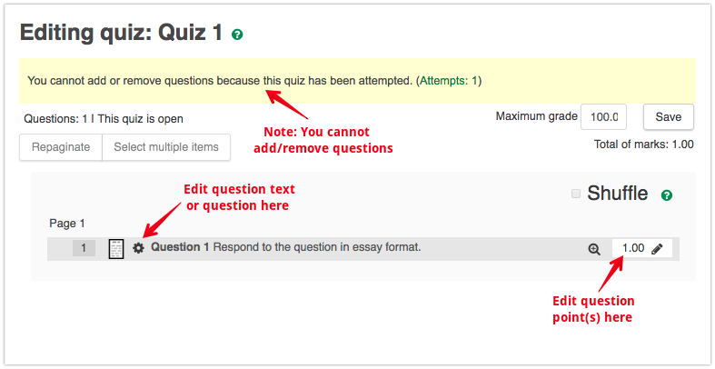 quizzes editing and regrading submitted quiz attempts powered by