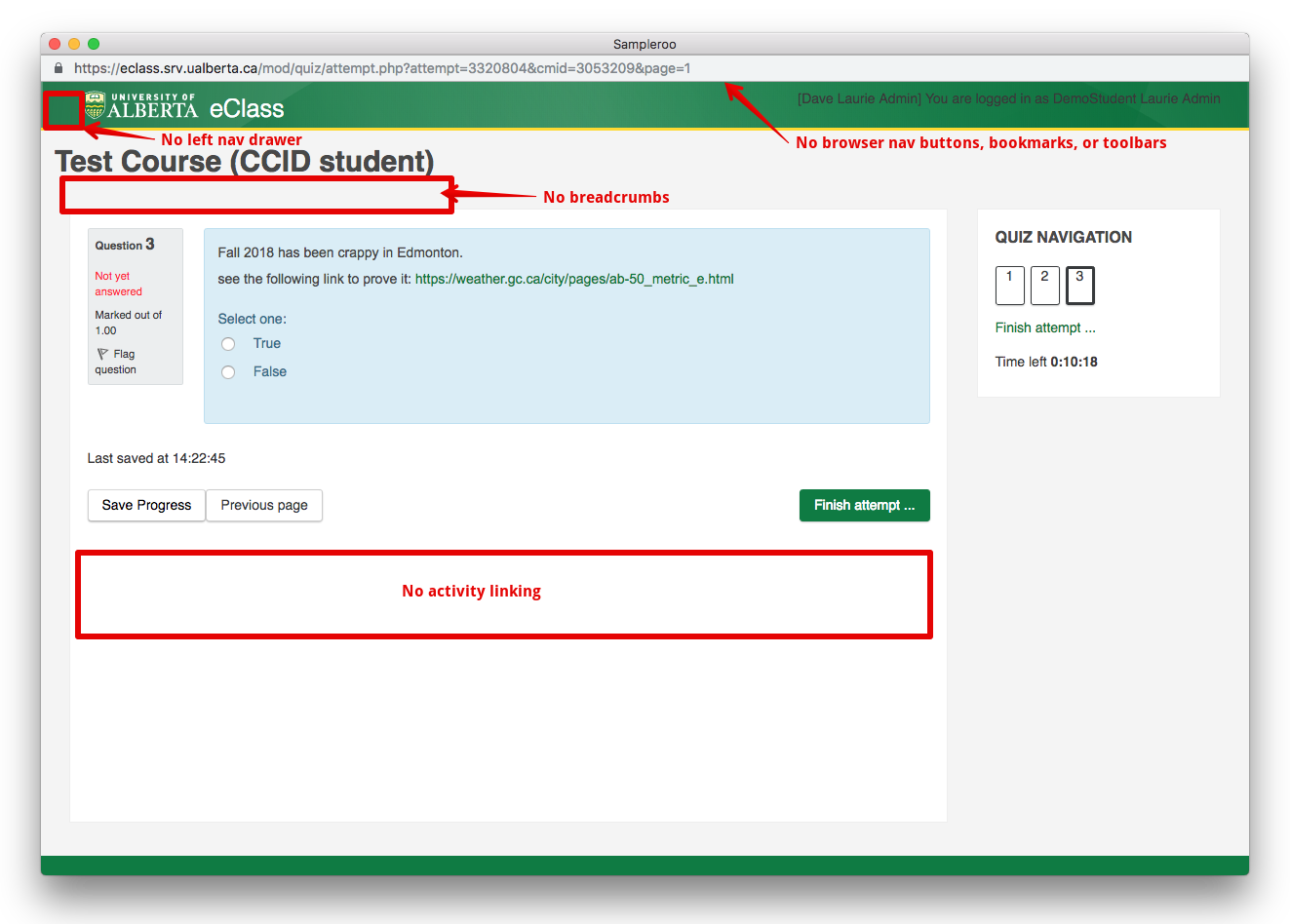 Security Features for Delivering eClass Quizzes - Powered by