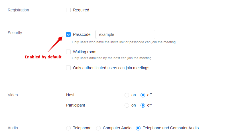 Zoom meeting settings for registration, security, video, and audio