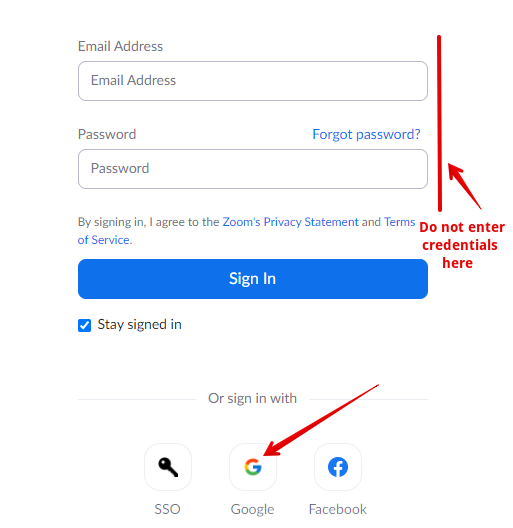 Signing in to Zoom with Google