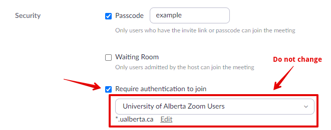 The Require authentication to join setting