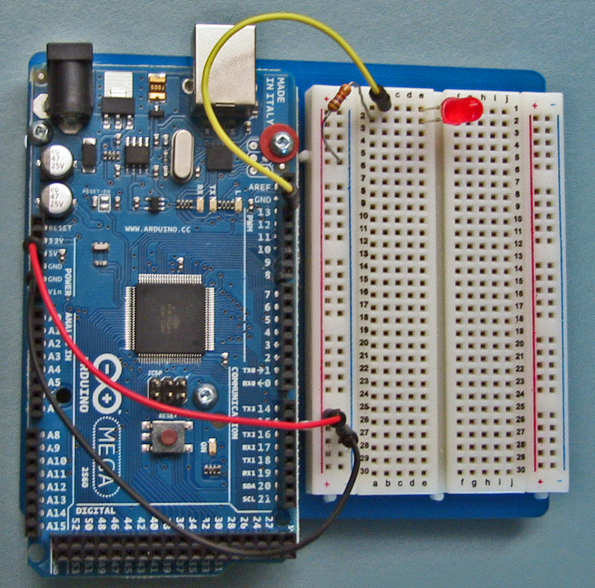 Arduino Intro Labs For Tangible Computing 8 Building Circuits Led Circuit On Breadboard Is 86