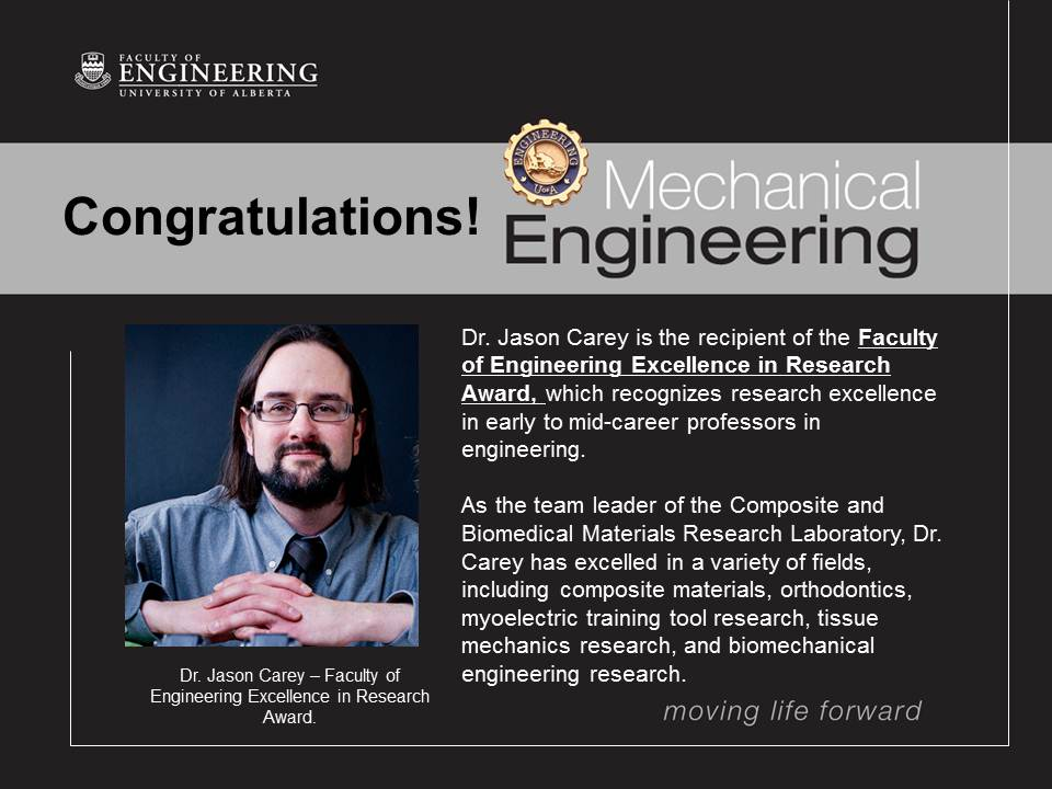 Carey Recipient of the Inaugural Faculty of Engineering Excellence in Research Award